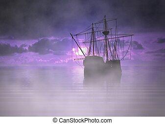 bateau, brouillard, pirate, levers de soleil