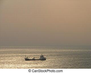 bateau, brume
