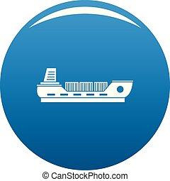 bateau, cargaison, icône, bleu, vecteur