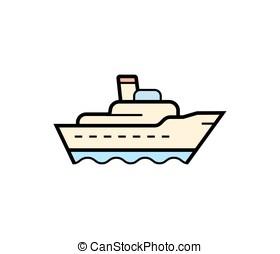 bateau, cargaison, icône