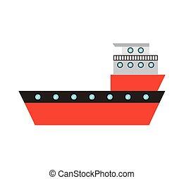 bateau, cargaison, service livraison