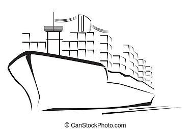 bateau, cargaison, symbole