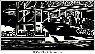 bateau, chargement, récipient, récipients