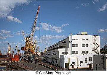 bateau, chargement, vue, port, cargaison