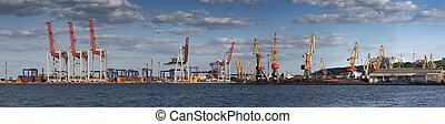 bateau, chargement, vue, port, panorama, cargaison