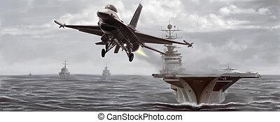 bateau, combattant, naval, jet