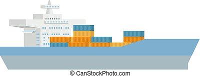 bateau, concept, récipient, cargaison, logistique