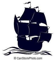 bateau, contour, voile