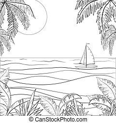bateau, contours, voile, mer