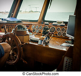 bateau, contrôle, pont