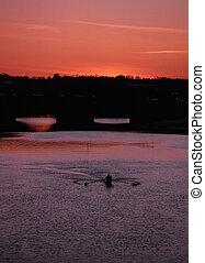 bateau, coucher soleil