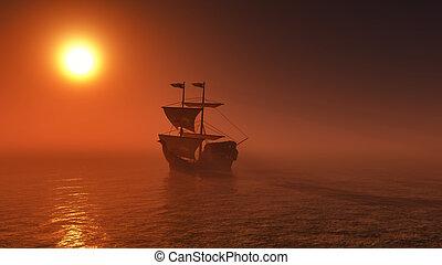bateau, coucher soleil, mer, voile, 3d