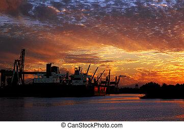 bateau, coucher soleil, rouges, port maritime