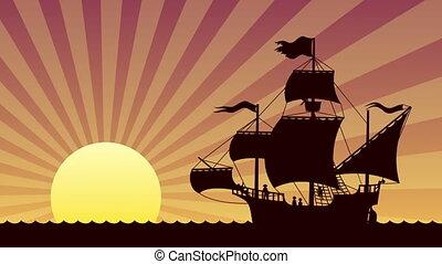 bateau, coucher soleil, voile