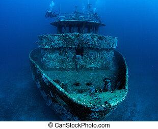 bateau, couler, comme, une, artificiel, récif, image, pris,...