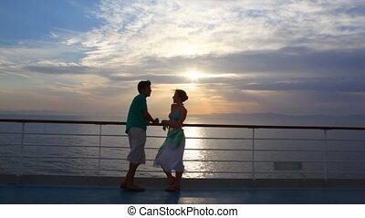 bateau, couple, en mouvement, stands, mer