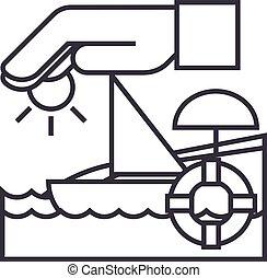 bateau, coups, soleil, voyage, illustration, vecteur, lifebuoy, signe, assurance, editable, ligne, fond, icône, sable