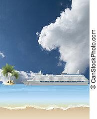 bateau croisière, ancré