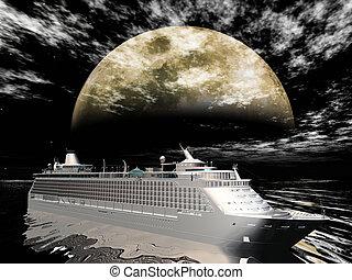 bateau croisière, in-front, lune