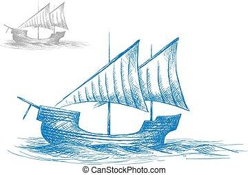 bateau, croquis, vieux, moyen-âge, voile