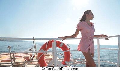 bateau, délassant, pont