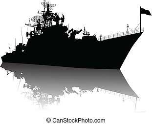 bateau, détaillé, silhouette, élevé