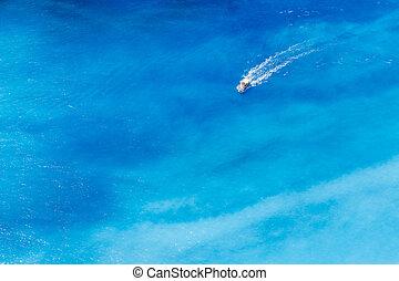 bateau, dans, les, bleu, mer