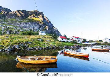 bateau, dans, norvège