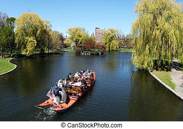 bateau, dans parc