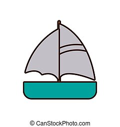 bateau, dessin animé, maritime, voyage