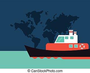 bateau, emblème, ou, bateau, image