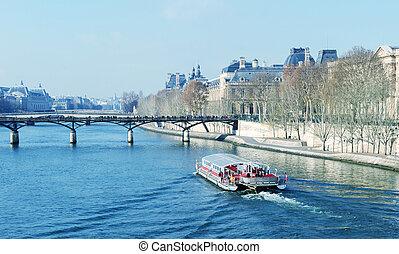bateau, en, el, seine., parisiense, barco, elaboración, un, ciudad, viaje