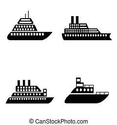 bateau, ensemble, bateau, icône