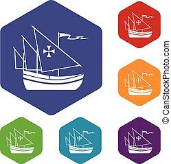 bateau, ensemble, colomb, icônes
