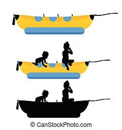 bateau, ensemble, silhouette, enfants, illustration