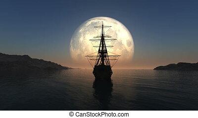 bateau, entiers, vieux, 4k, lune