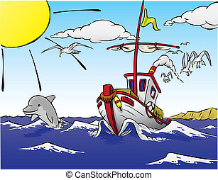 bateau, fish, dauphin, partir