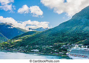 bateau, fjord, croisière, vieux, norvège