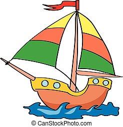 bateau, fond blanc, coloré, dessin animé
