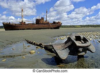 bateau, fuego, del, tierra, naufrage
