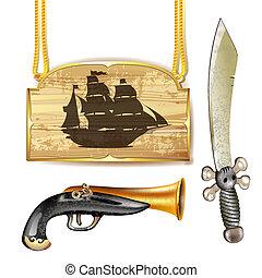 bateau, fusil, épée, pirate