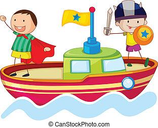 bateau, gosses, jouer