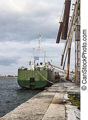 bateau, grain chargement