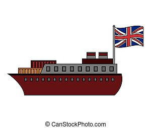 bateau, grand, drapeau, grande-bretagne, bateau