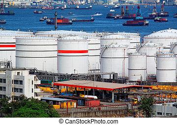 bateau, huile, jour, réservoirs