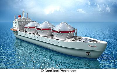bateau, huile, voiles, pétrolier, océan