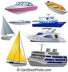 bateau, icône, ensemble