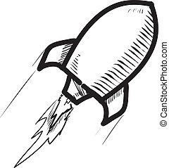 bateau, icon., fusée, dessin animé