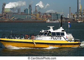 bateau, industrie, pilote