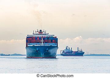 bateau, industriel, récipient, port